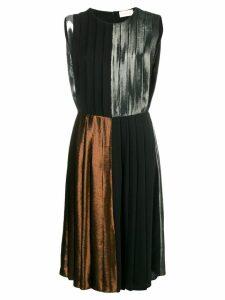 Christopher Kane panelled pleated lamé dress - Metallic