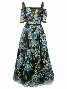 Marchesa Notte floral applique dress - Black