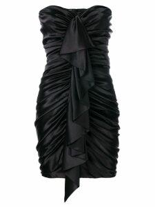 Alexandre Vauthier ruched ruffle trim dress - Black
