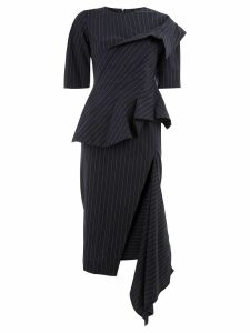 Monse asymmetric pinstripe ruffle dress - Blue