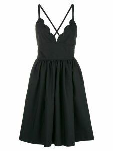 Miu Miu scallop trim flared dress - Black
