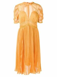 Self-Portrait pleated midi dress - Yellow
