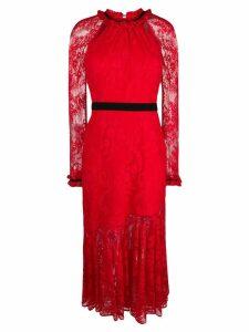 Three Floor lace pattern dress - Red