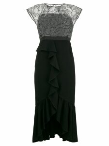 Three Floor lace detailed dress - Black