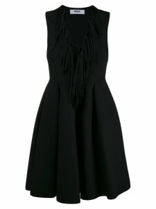 MSGM fringed V-neck flared dress - Black