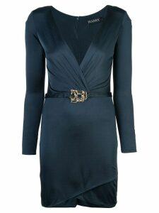 Haney V-neck belted dress - Blue
