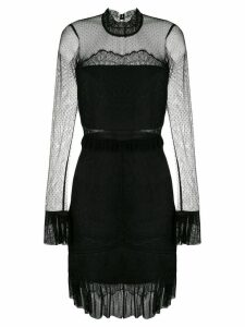Three Floor lace pattern fitted dress - Black