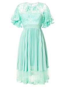 Three Floor Haze pleat and lace dress - Green