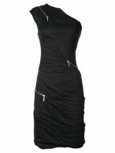 Nicole Miller asymmetric zip detail dress - Black