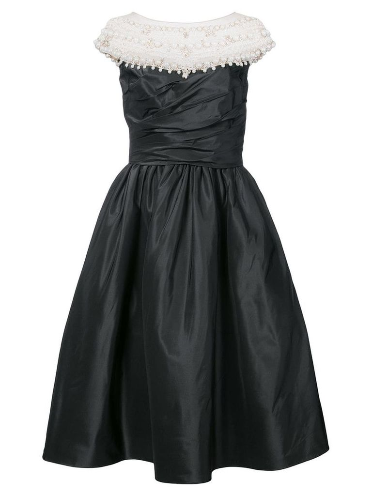 Marchesa faux pearl-embellished dress - Black