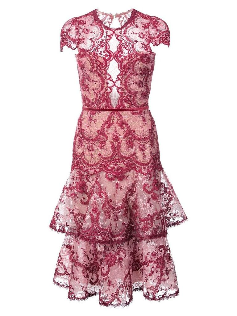 Marchesa Notte embroidered lace midi dress - Pink