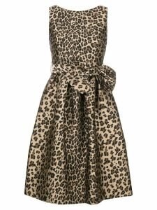 P.A.R.O.S.H. bow detail leopard print dress - Brown