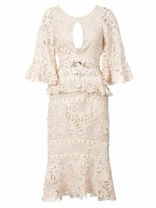 Nicole Miller flutter sleeve dress - Neutrals