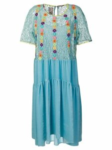 Antonio Marras floral-embroidered flared dress - Blue