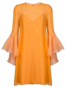 Galvan trumpet sleeve dress - Yellow