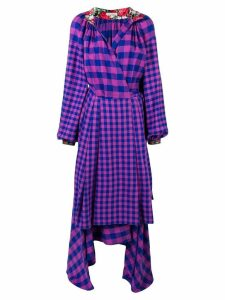 Natasha Zinko checked apron wrap dress - Blue