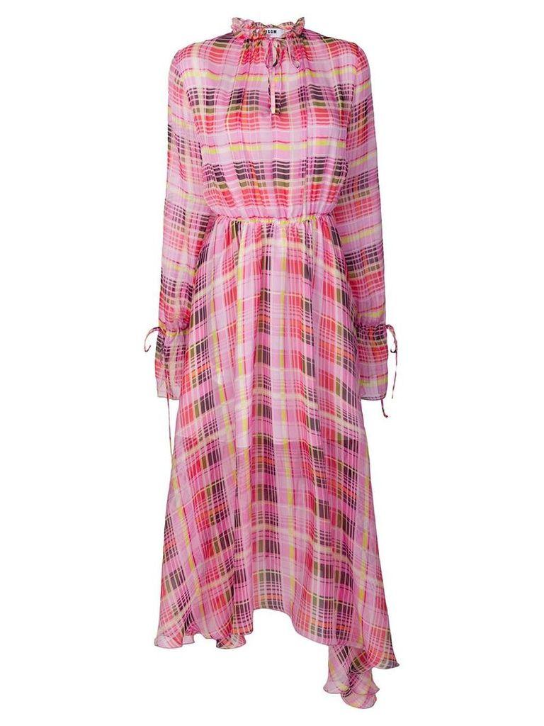 MSGM sheer check asymmetric dress - Pink