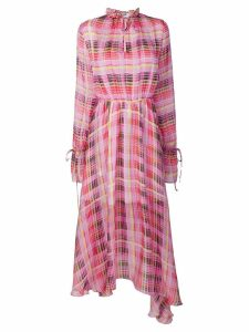 MSGM sheer check asymmetric dress - Pink