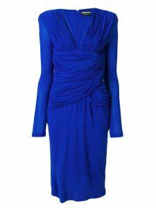 Tom Ford gathered midi dress - Blue