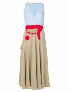 Marco De Vincenzo embroidered belt colour block dress - Metallic