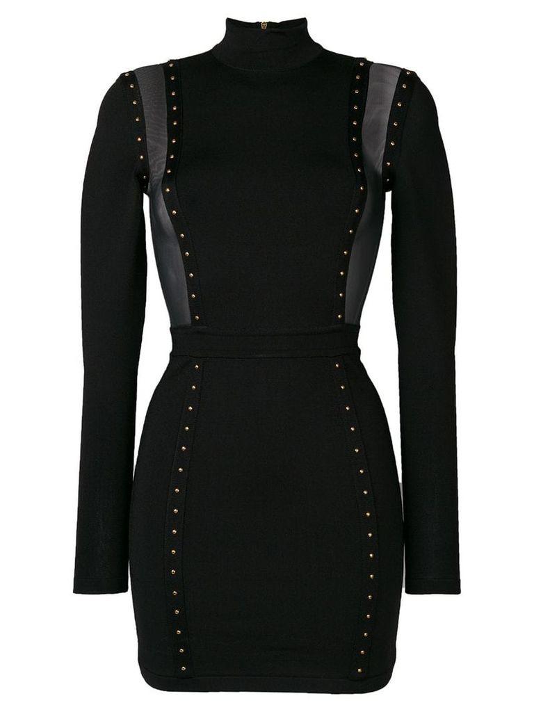Balmain studded mesh panelled dress - Black
