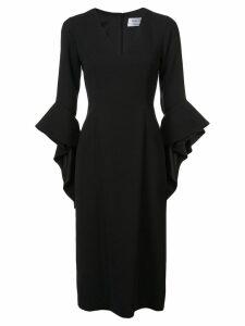 Prabal Gurung ruffle cuff V-neck dress - Black