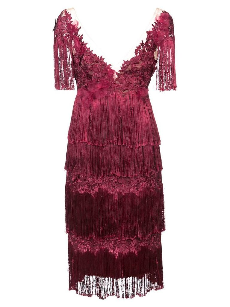 Marchesa Notte embroidered and fringed dress