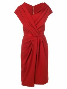 Vionnet ruched asymmetric dress - Red