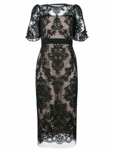 Nº21 lace overlay open back dress - Neutrals