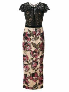 Marchesa Notte sequined lace column gown - Black