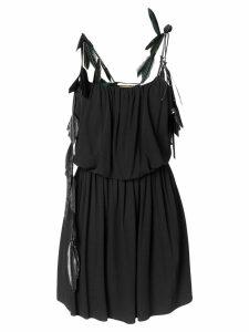Saint Laurent feather trim strappy dress - Black