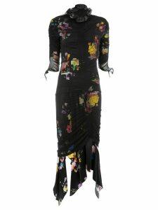 Preen By Thornton Bregazzi floral print ruche detail dress - Black