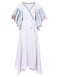 Natasha Zinko floral striped ruffle sleeve wrap dress - Pink