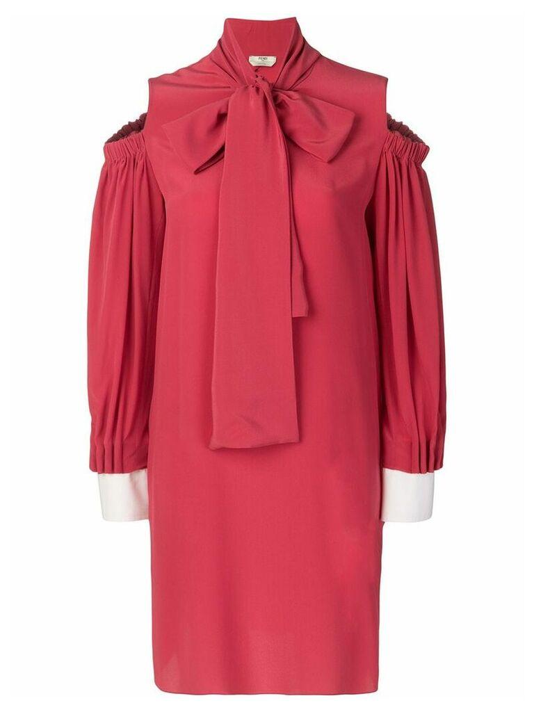 Fendi bow-tied cold-shoulder dress - Red