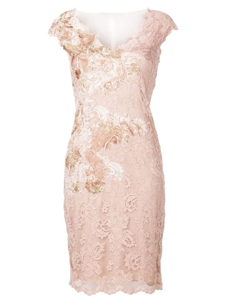 Olvi´S v-neck lace dress - Pink