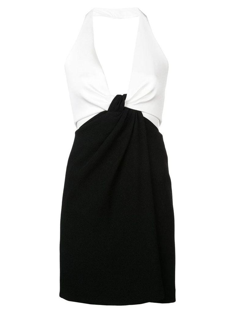 Galvan halterneck contrast mini dress - White