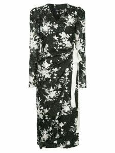 Goen.J fringed floral wrap dress - Black