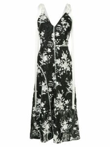 Goen.J fringed floral printed dress - Black
