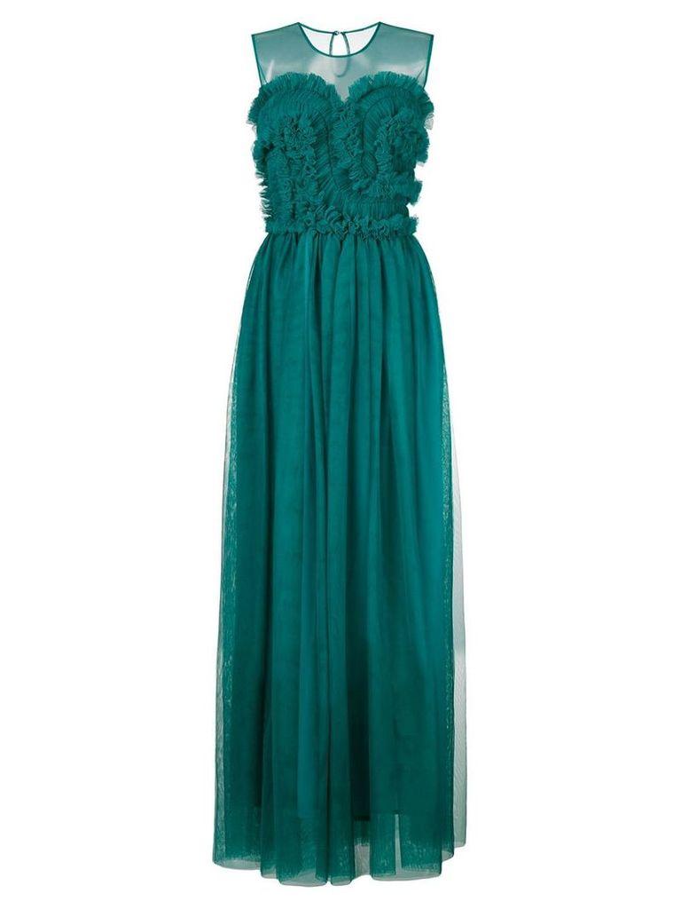 P.A.R.O.S.H. frill tulle maxi dress - Blue
