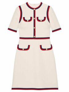 Gucci Wool silk dress with Web - White