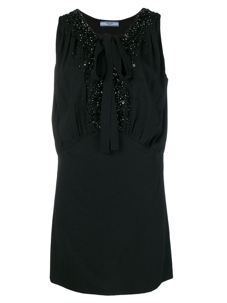 Prada crystal embellished tie neck shift dress - Black