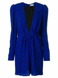 Saint Laurent polka dot mini plunge dress - Blue