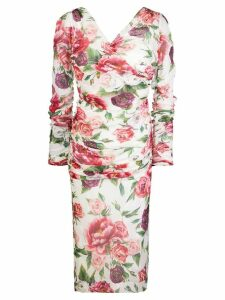 Dolce & Gabbana floral fitted midi dress - Pink