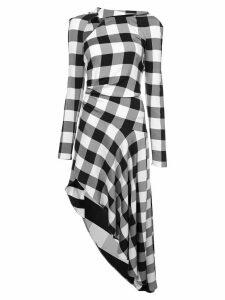Monse checked asymmetric midi dress - Black
