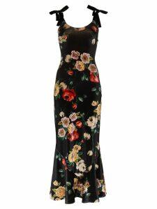 Attico Printed strappy velvet dress - Black