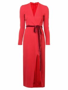 Adam Lippes belted fitted midi dress - Red