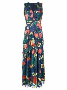Saloni floral ruffled long-length dress - Blue