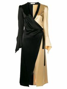 Ssheena colour block wrap dress - Black