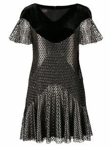 Talbot Runhof metallic mesh mini dress - Black