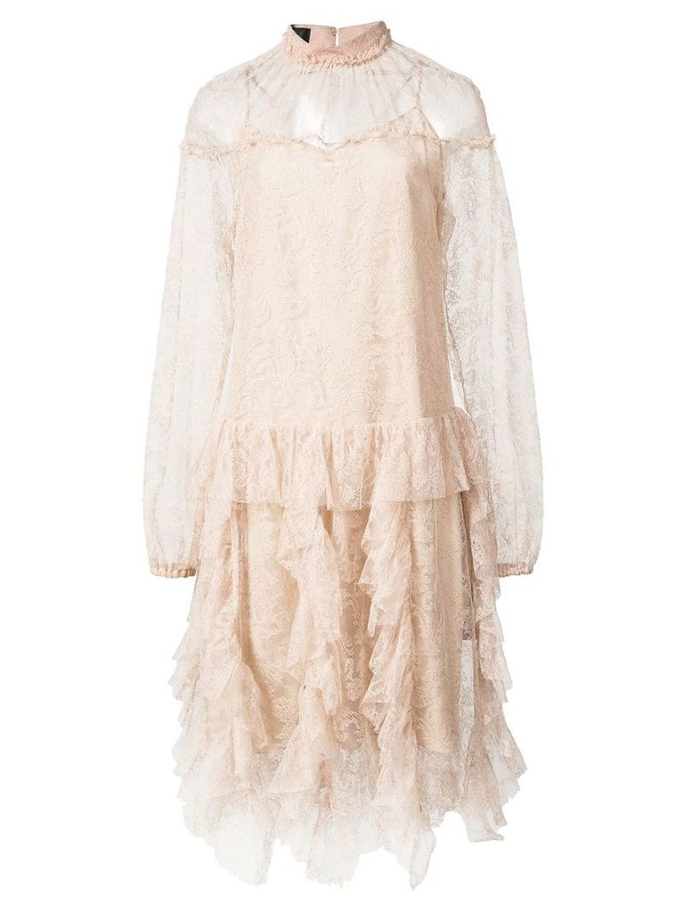 Rochas sheer lace dress - Neutrals